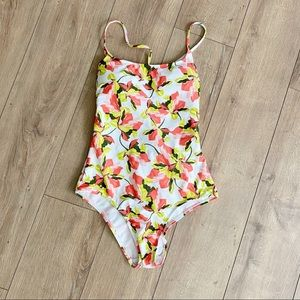New LANDS END White Floral Lace Up Back Swimsuit 6